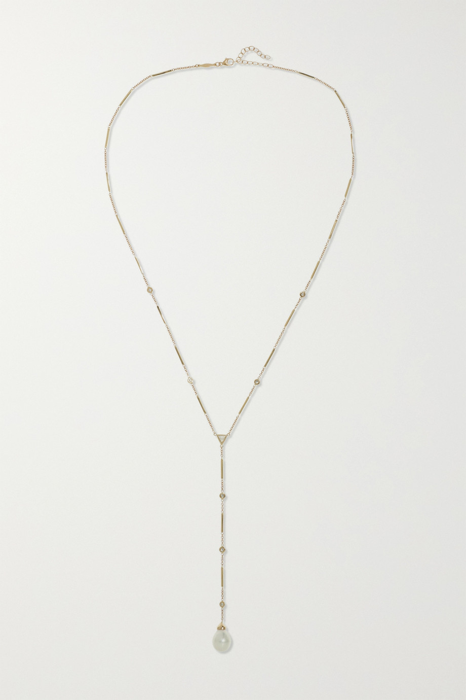 JACQUIE AICHE 14-karat gold, diamond and pearl necklace