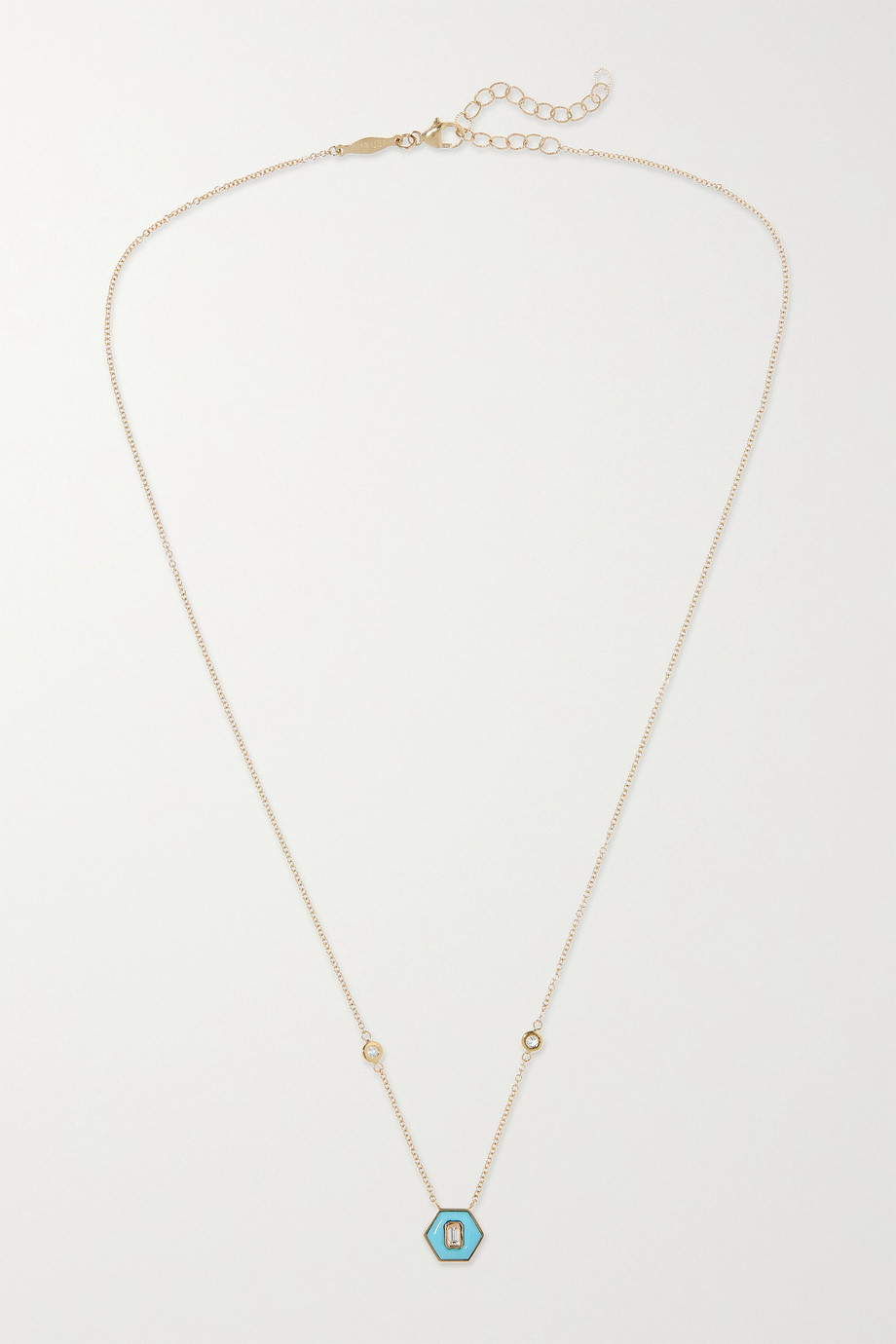 JACQUIE AICHE 14-karat gold, turquoise and diamond necklace