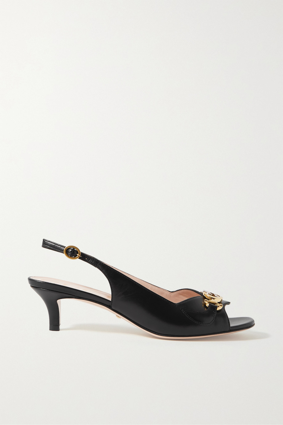 GUCCI Zumi embellished leather slingback sandals
