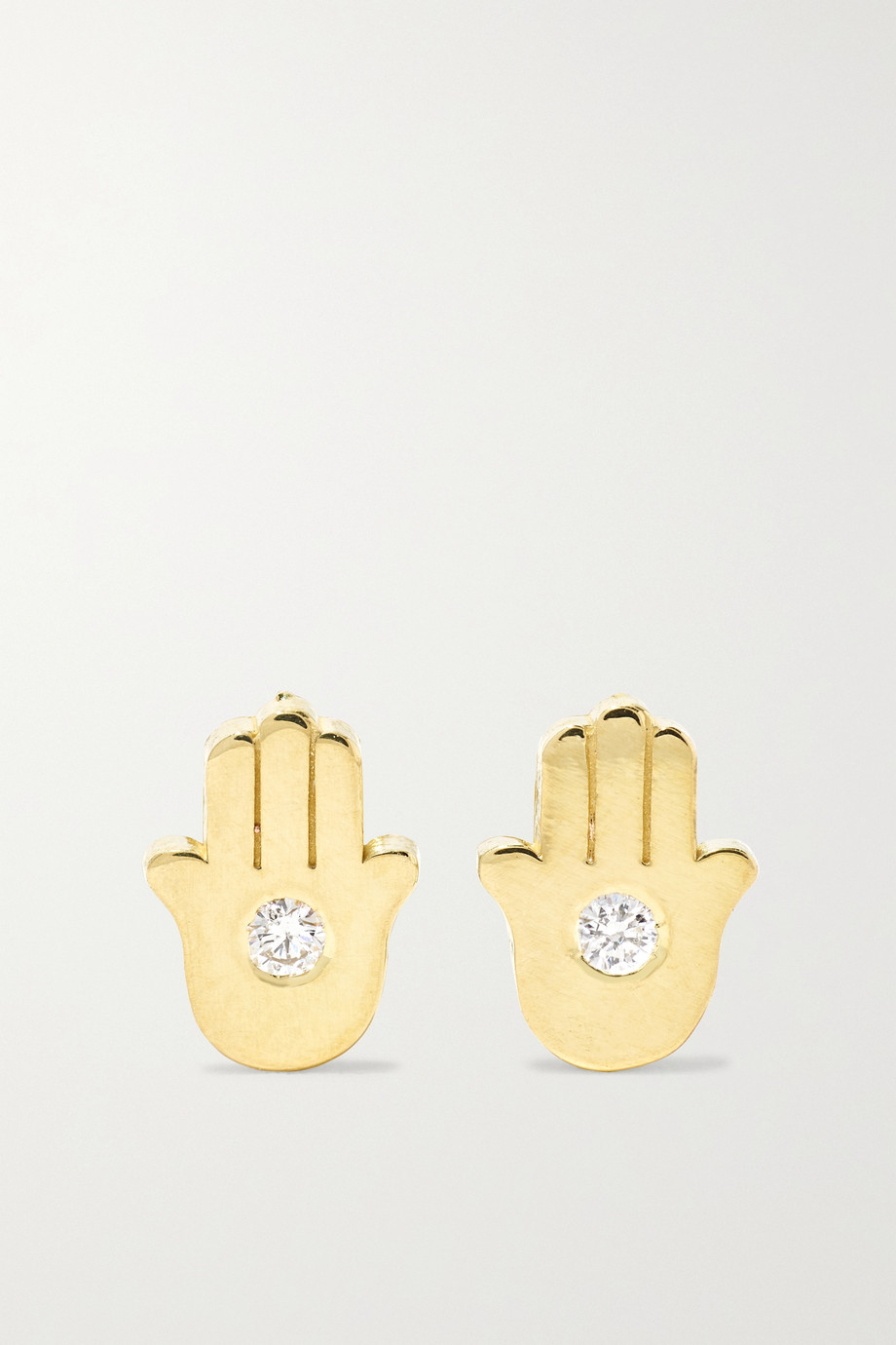 JENNIFER MEYER Mini Hamsa 18-karat gold diamond earrings