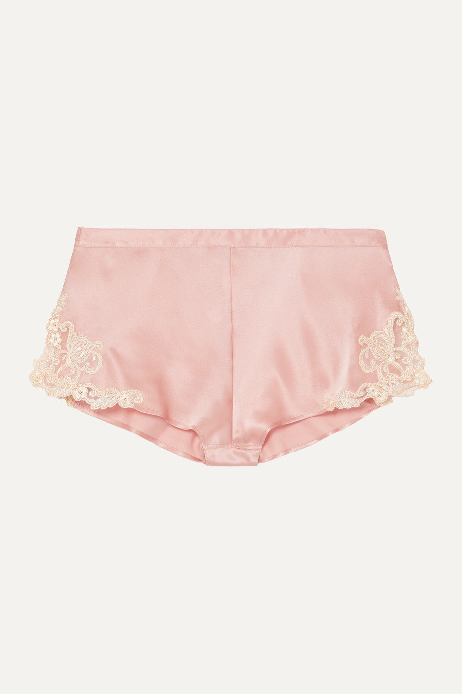 LA PERLA Maison embroidered lace-trimmed silk-blend satin shorts