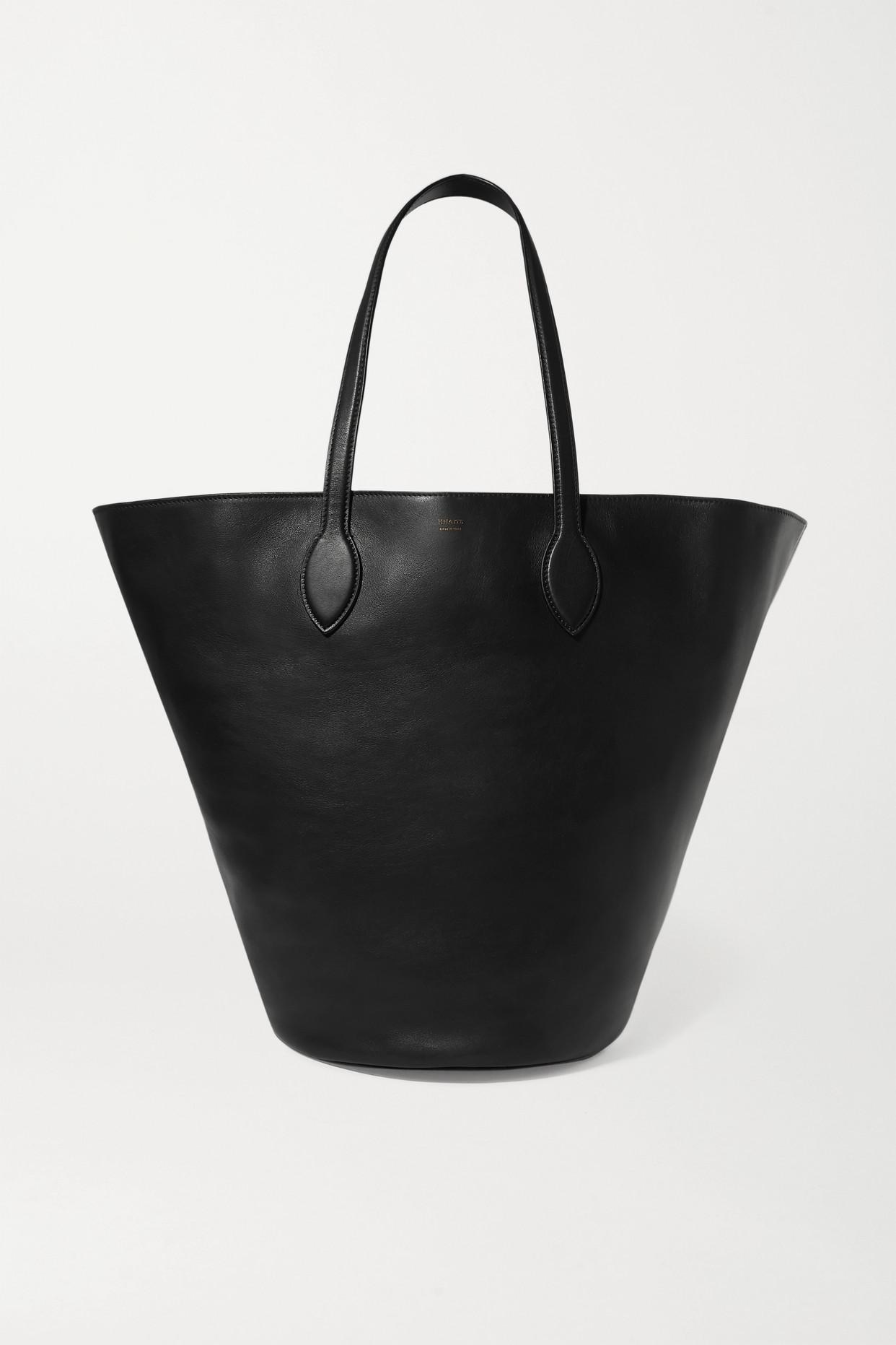 KHAITE - Circle Medium Leather Tote - Black - one size