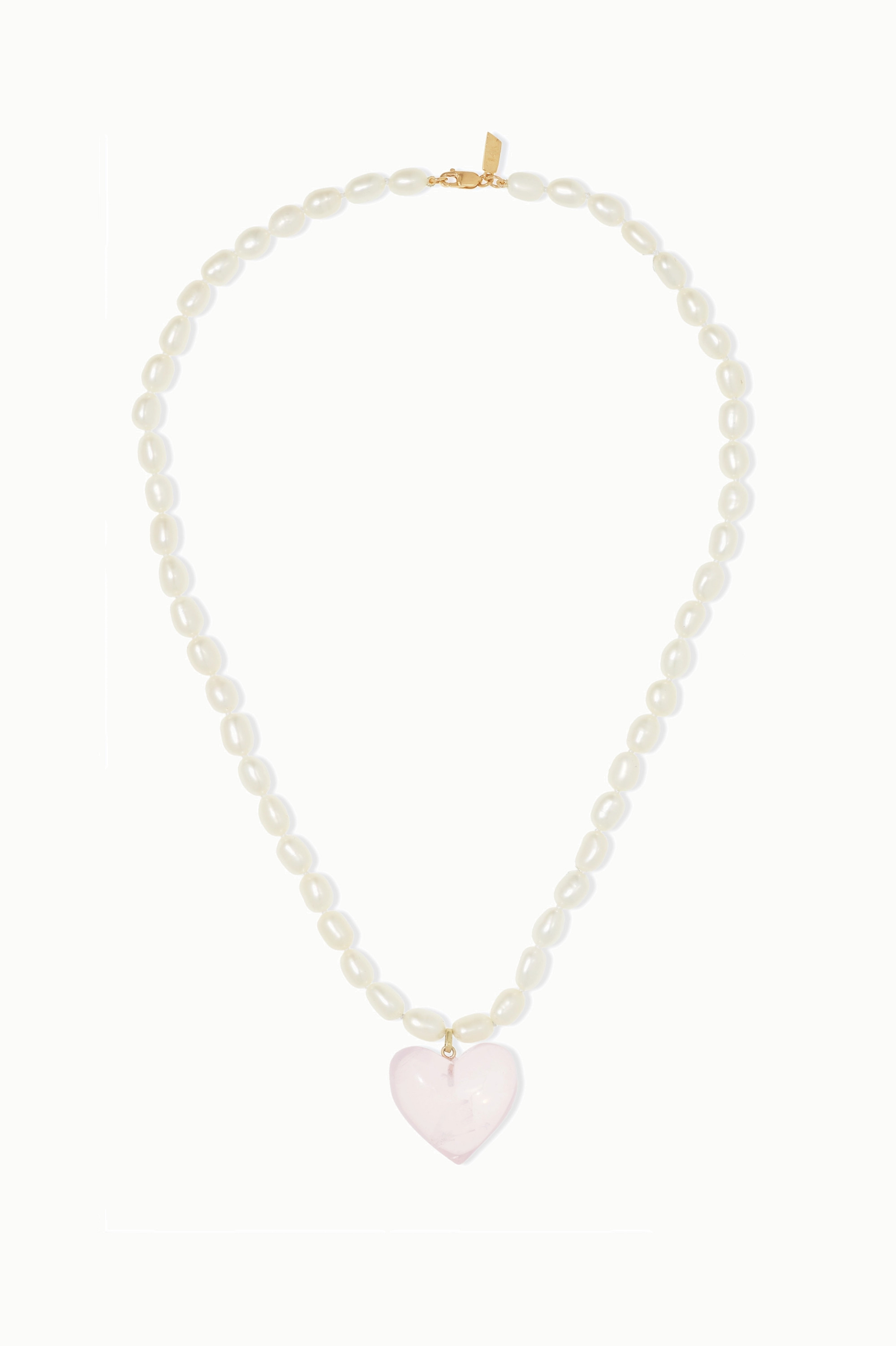 LOREN STEWART 14-karat gold pearl and quartz necklace
