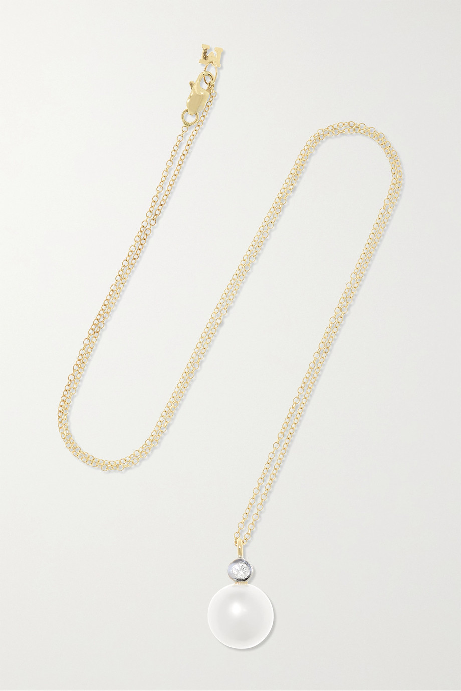 MATEO 14-karat gold, pearl and diamond necklace