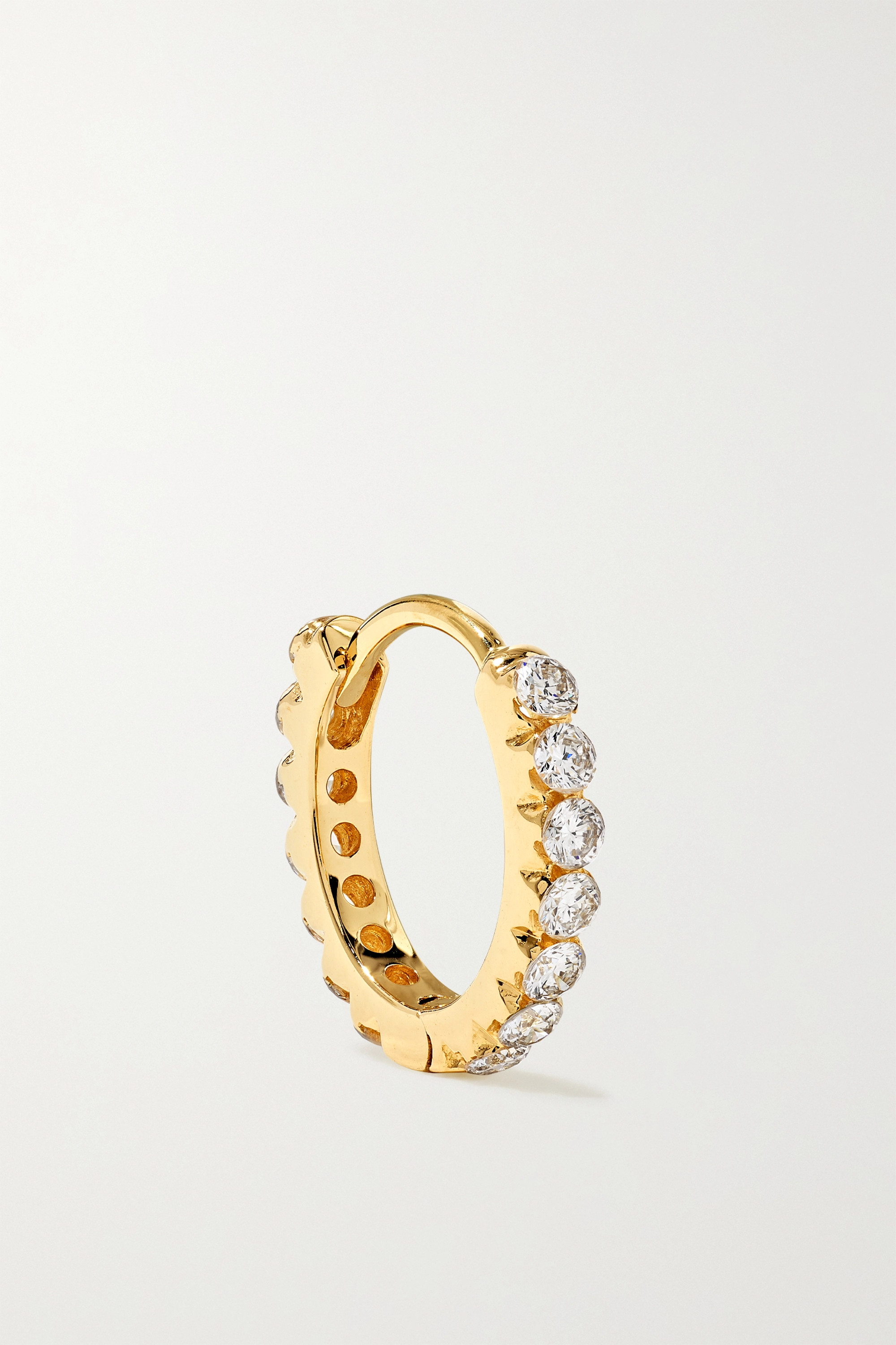 MARIA TASH Petite Double 18-karat gold diamond hoop earring