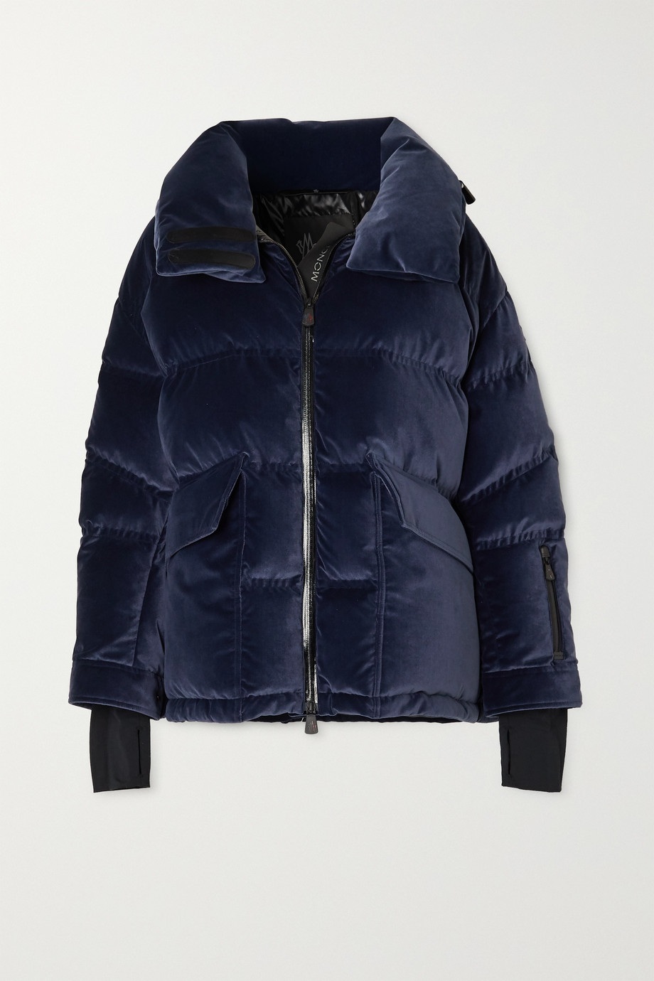 MONCLER GRENOBLE Atena hooded quilted velvet down jacket