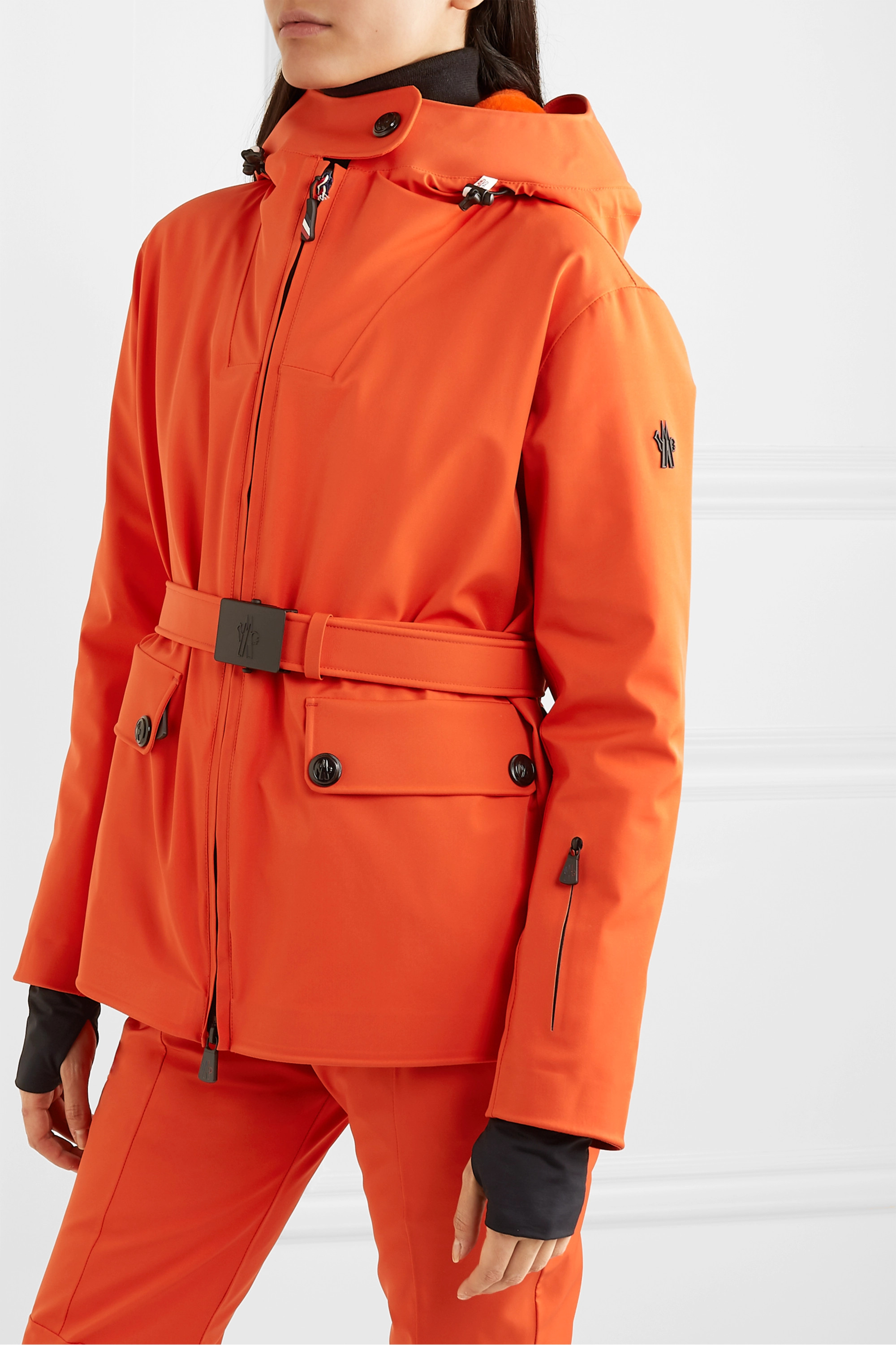 MONCLER GRENOBLE Resia belted hooded padded down ski jacket