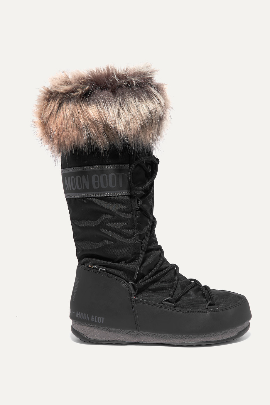 MOON BOOT Monaco faux fur-trimmed shell snow boots