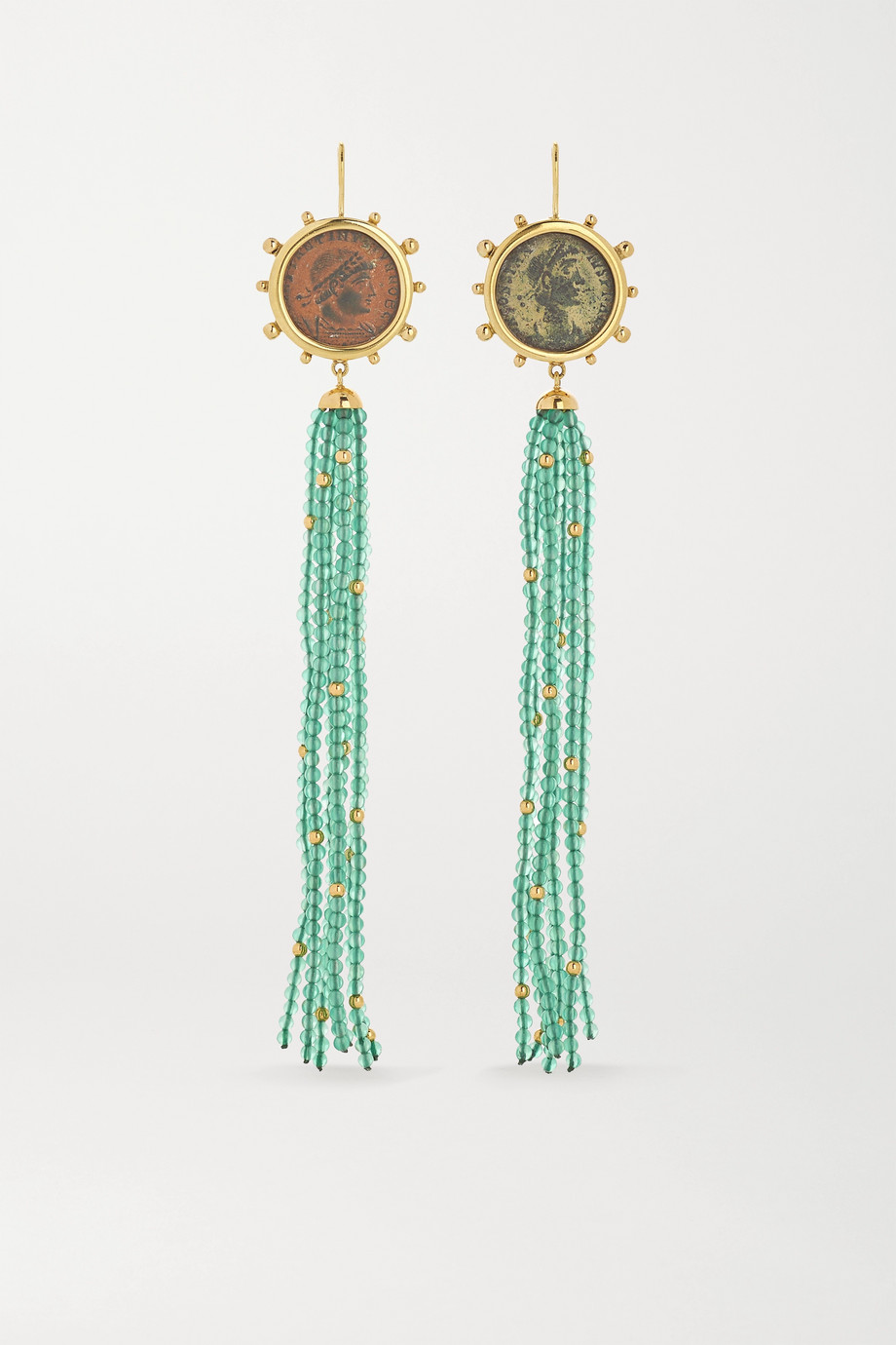 DUBINI Constantine 18-karat gold, bronze and agate earrings
