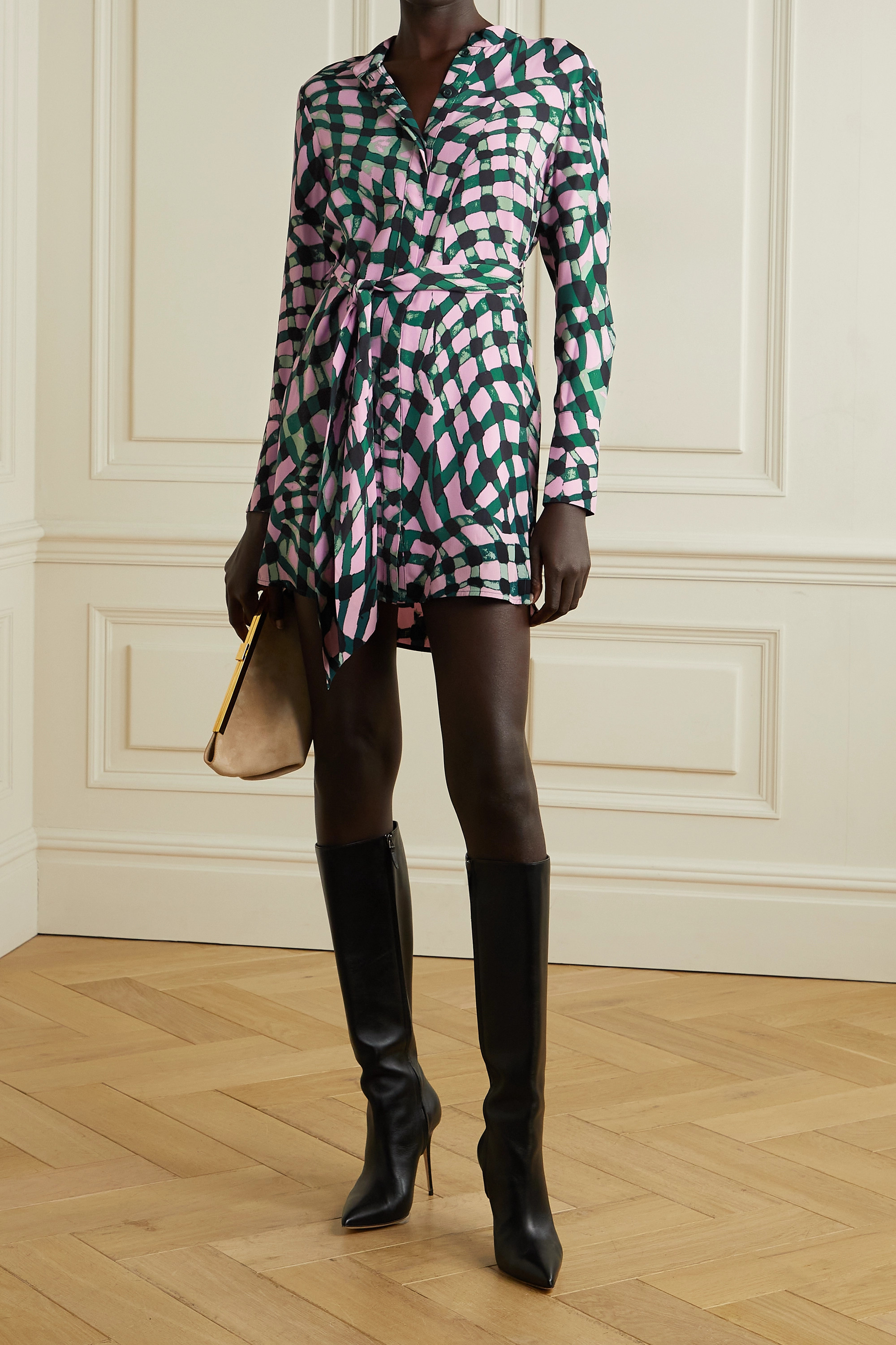 DIANE VON FURSTENBERG Nomie belted printed crepe mini shirt dress