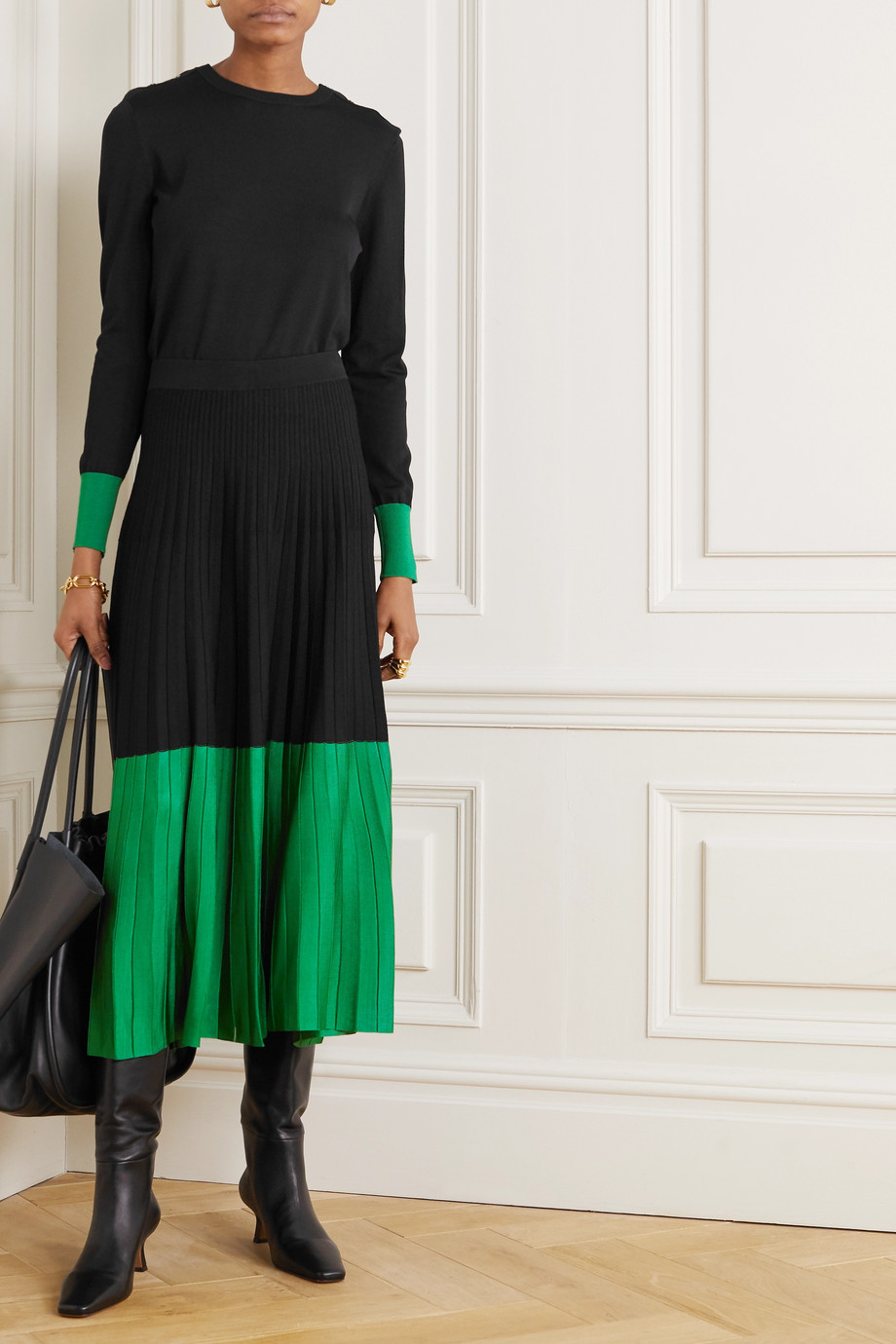 CEFINN Colette two-tone pleated knitted midi skirt