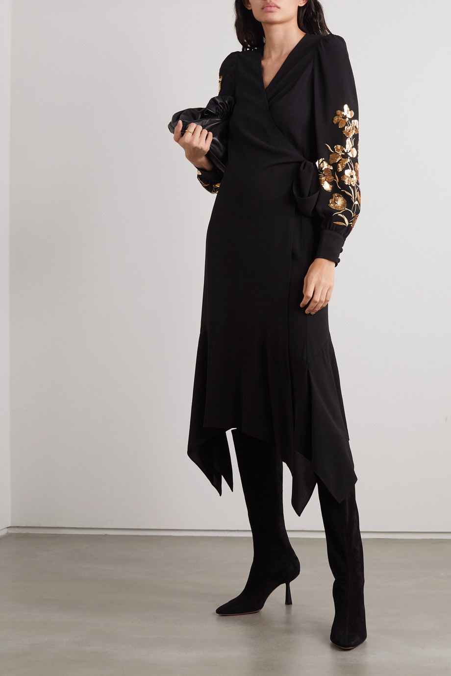 TORY BURCH Asymmetric embellished embroidered crepe wrap dress