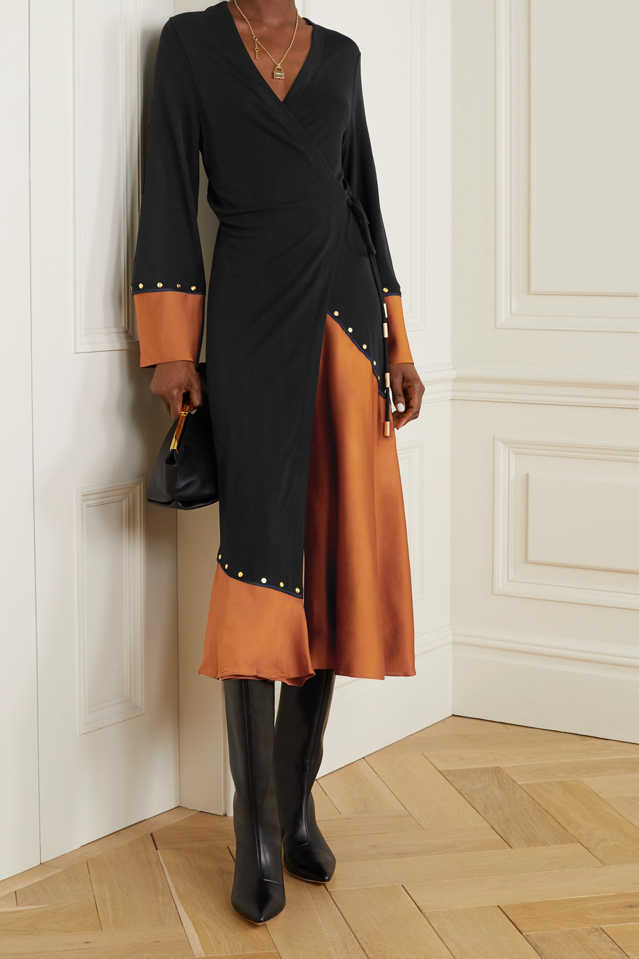 TORY BURCH Studded stretch-jersey and satin wrap midi dress