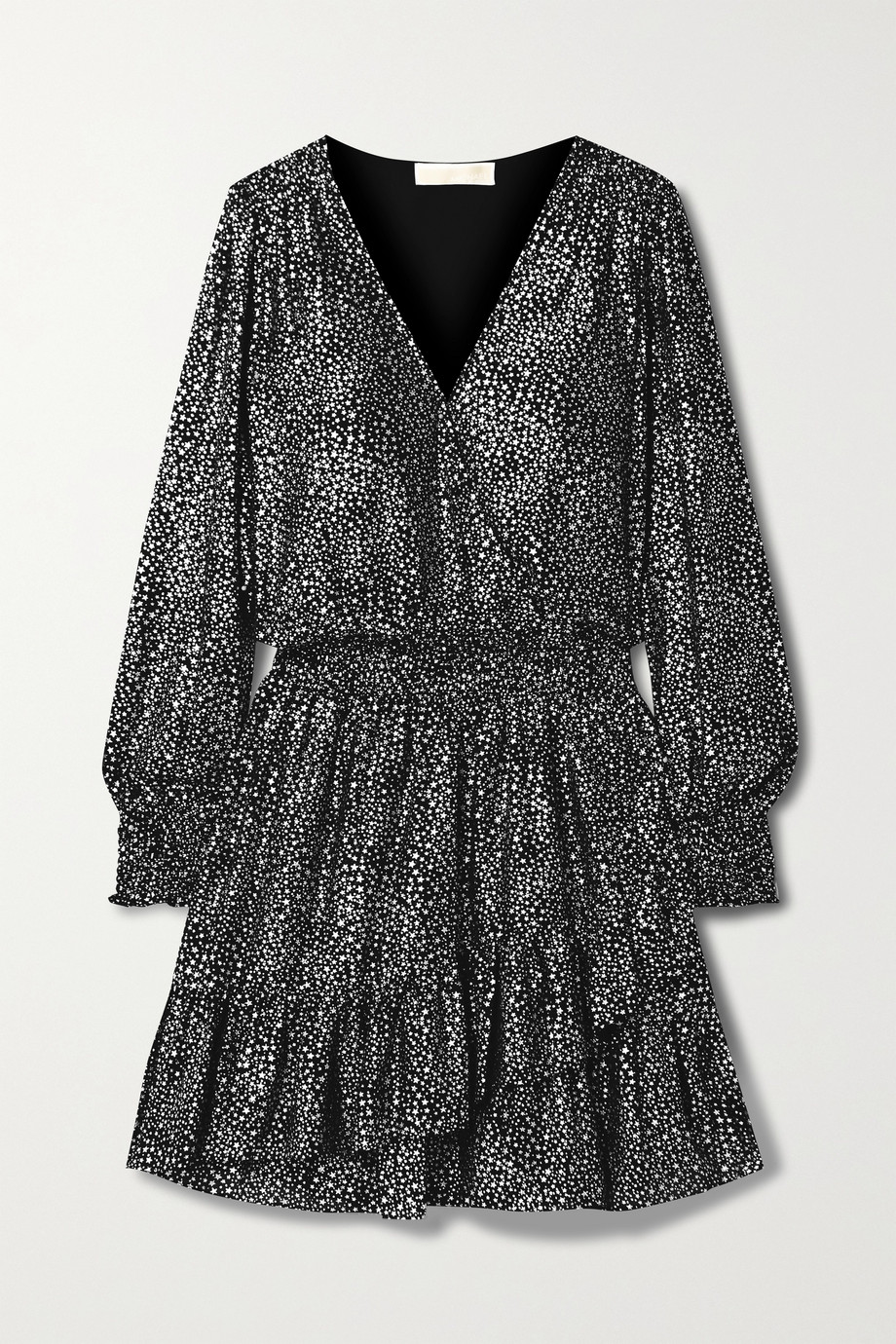 MICHAEL MICHAEL KORS Wrap-effect ruffled metallic printed georgette mini dress