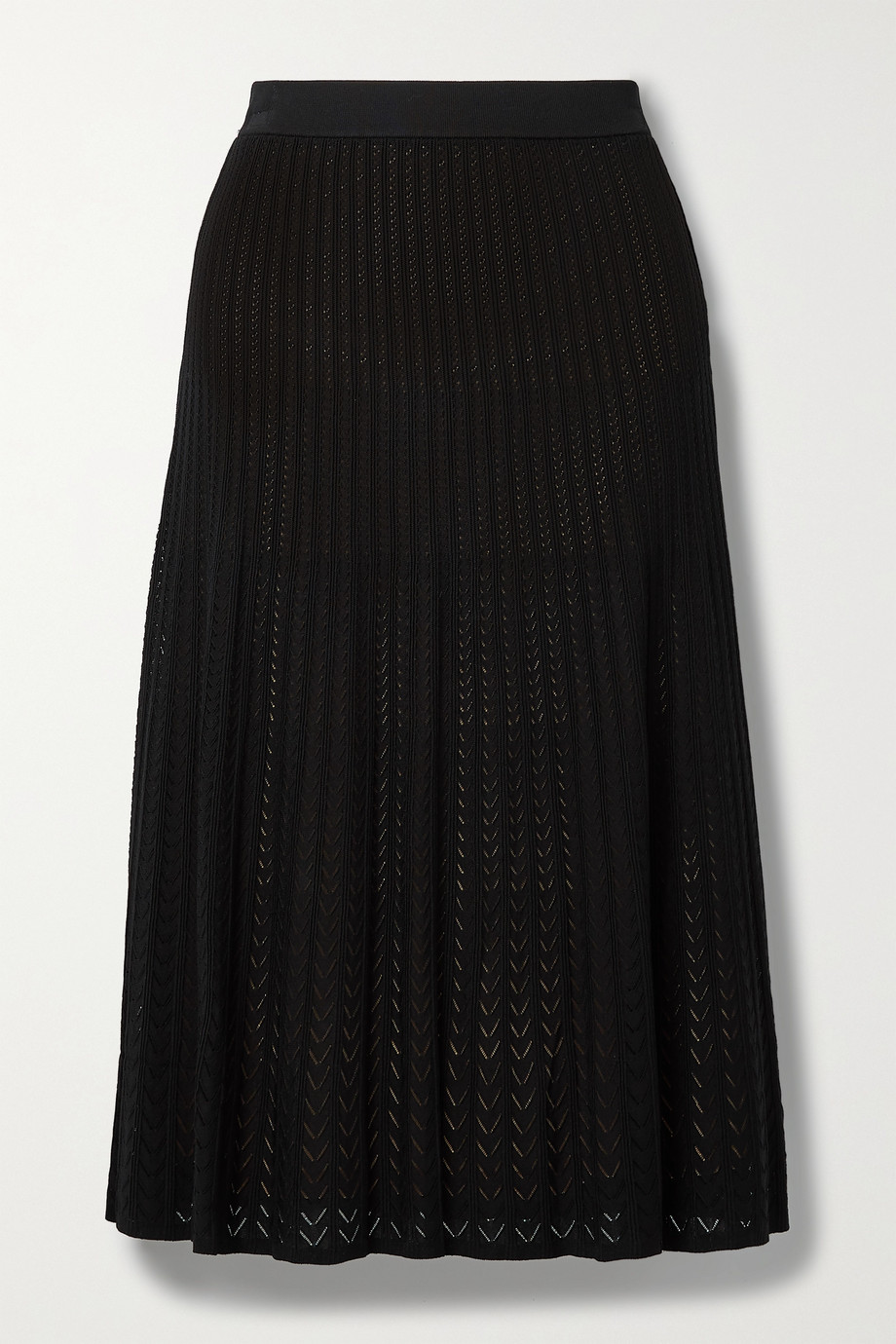 MICHAEL MICHAEL KORS Ribbed pointelle-knit midi skirt