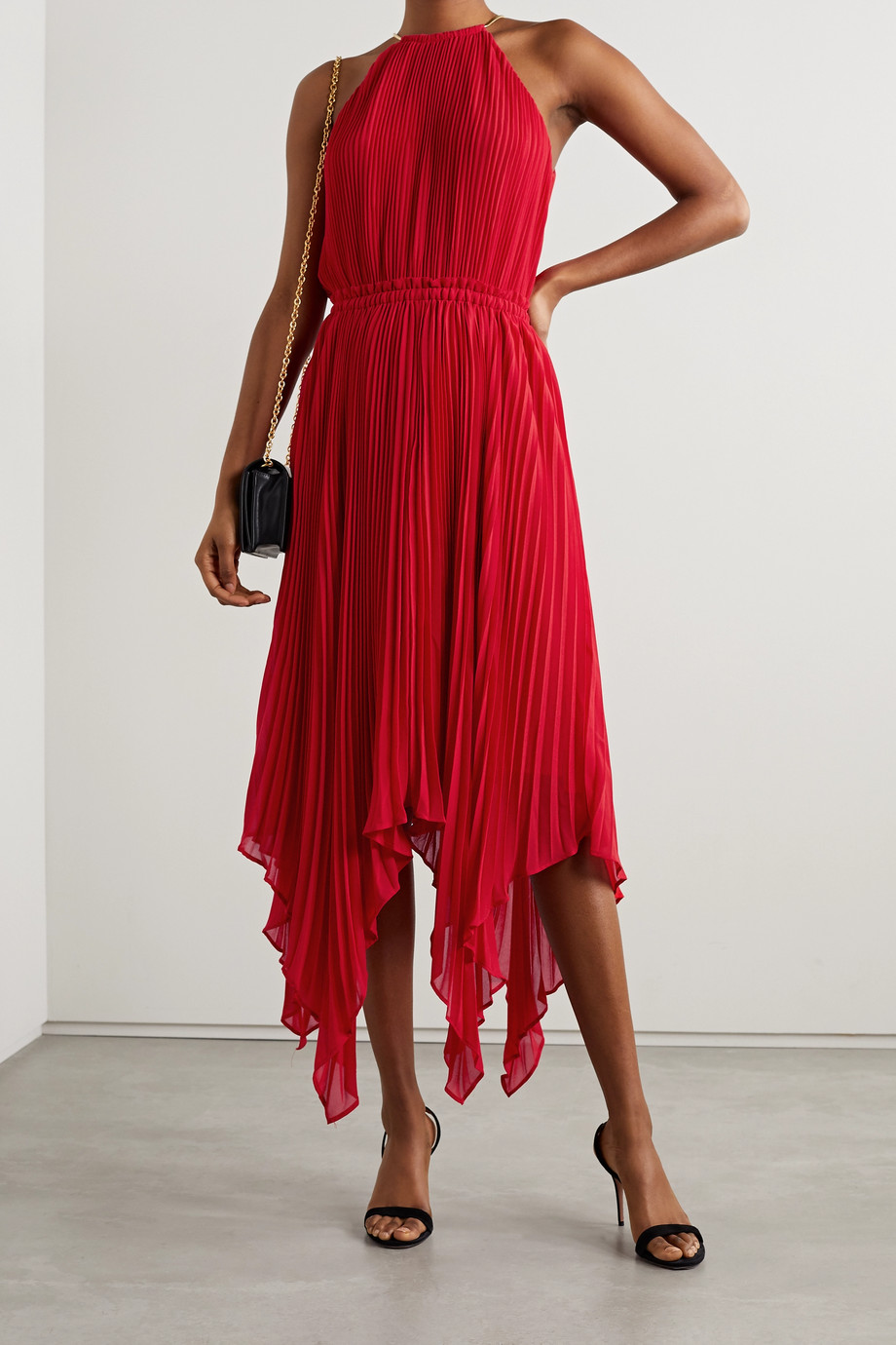 MICHAEL MICHAEL KORS Chain-embellished asymmetric pleated crepe dress