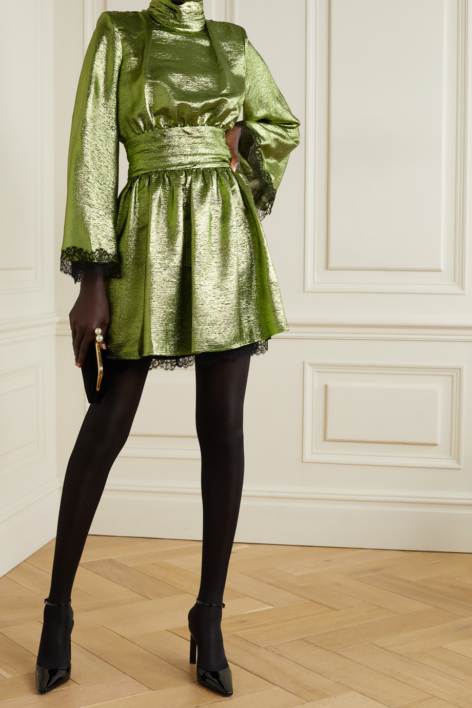 DUNDAS Lace-trimmed silk-blend lamé turtleneck mini dress