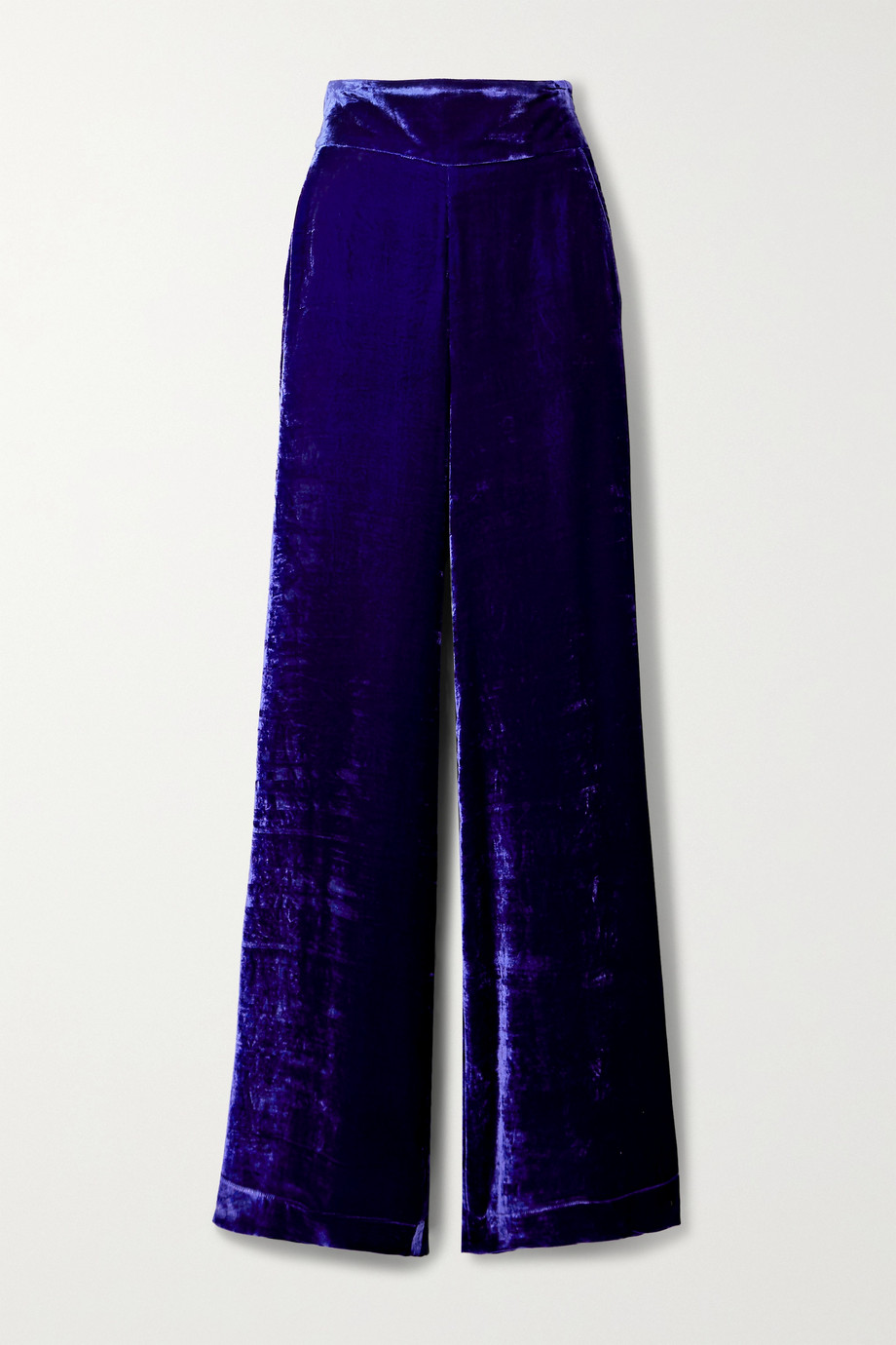 DUNDAS Crushed-velvet straight-leg pants