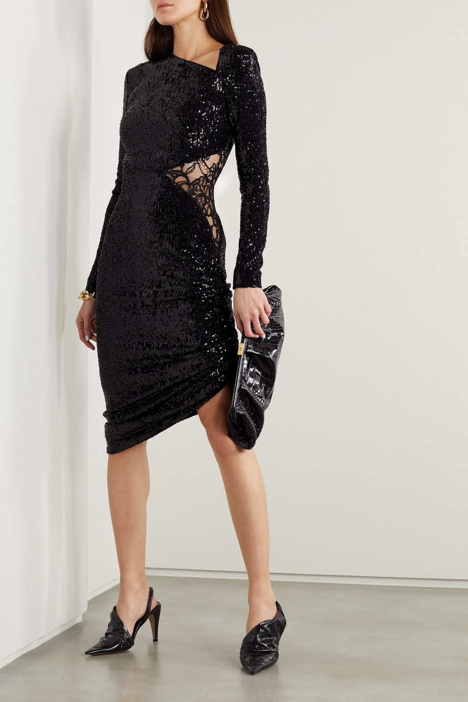 DUNDAS Asymmetric lace-paneled sequined jersey dress