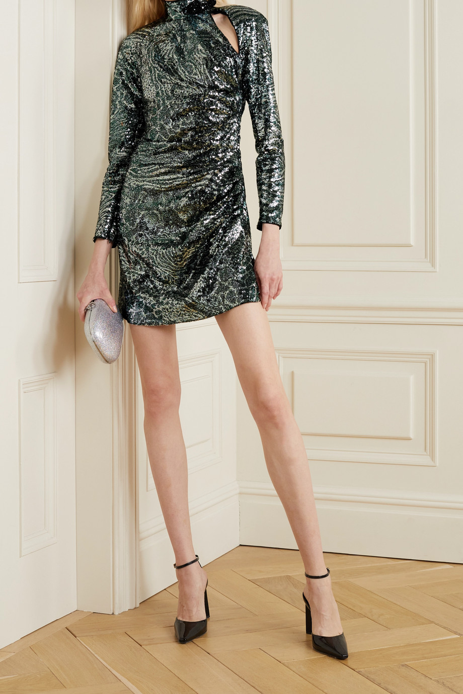 DUNDAS Cutout sequined tulle mini dress