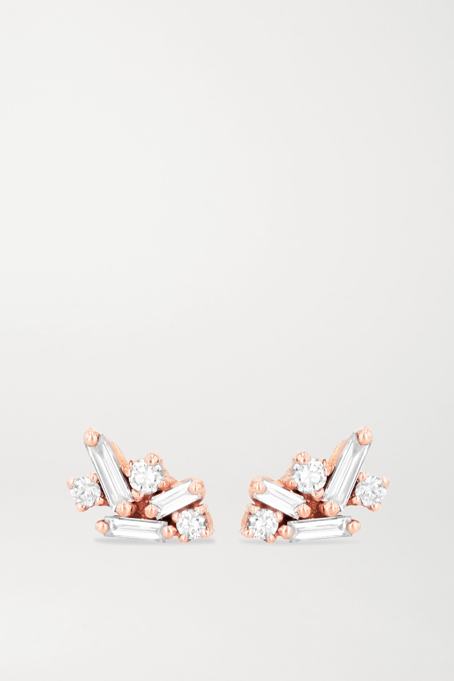 SUZANNE KALAN 18-karat rose gold diamond earrings