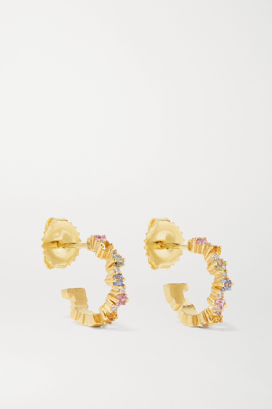 SUZANNE KALAN 18-karat gold, sapphire and diamond hoop earrings