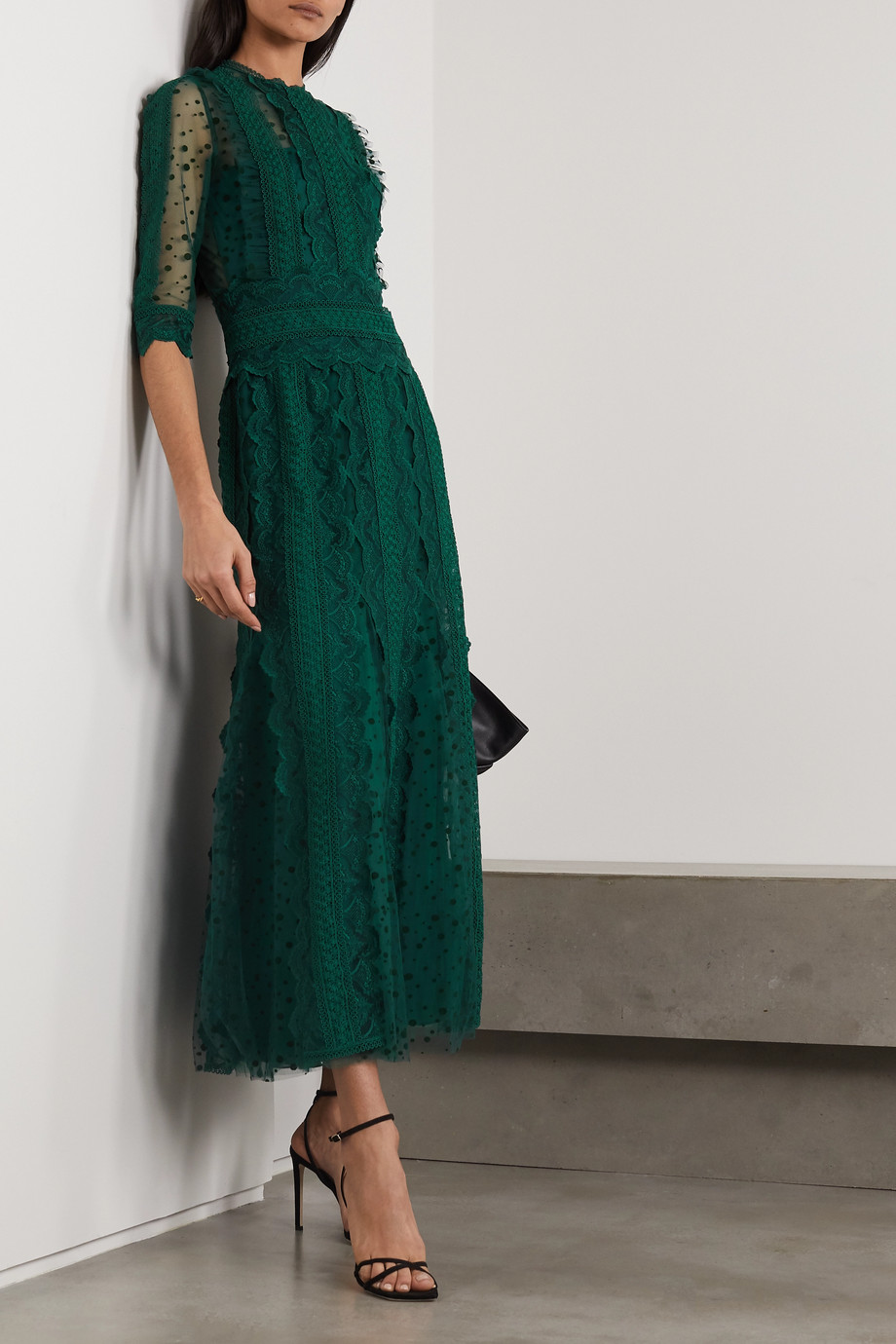COSTARELLOS Cade polka-dot flocked tulle and guipure lace midi dress