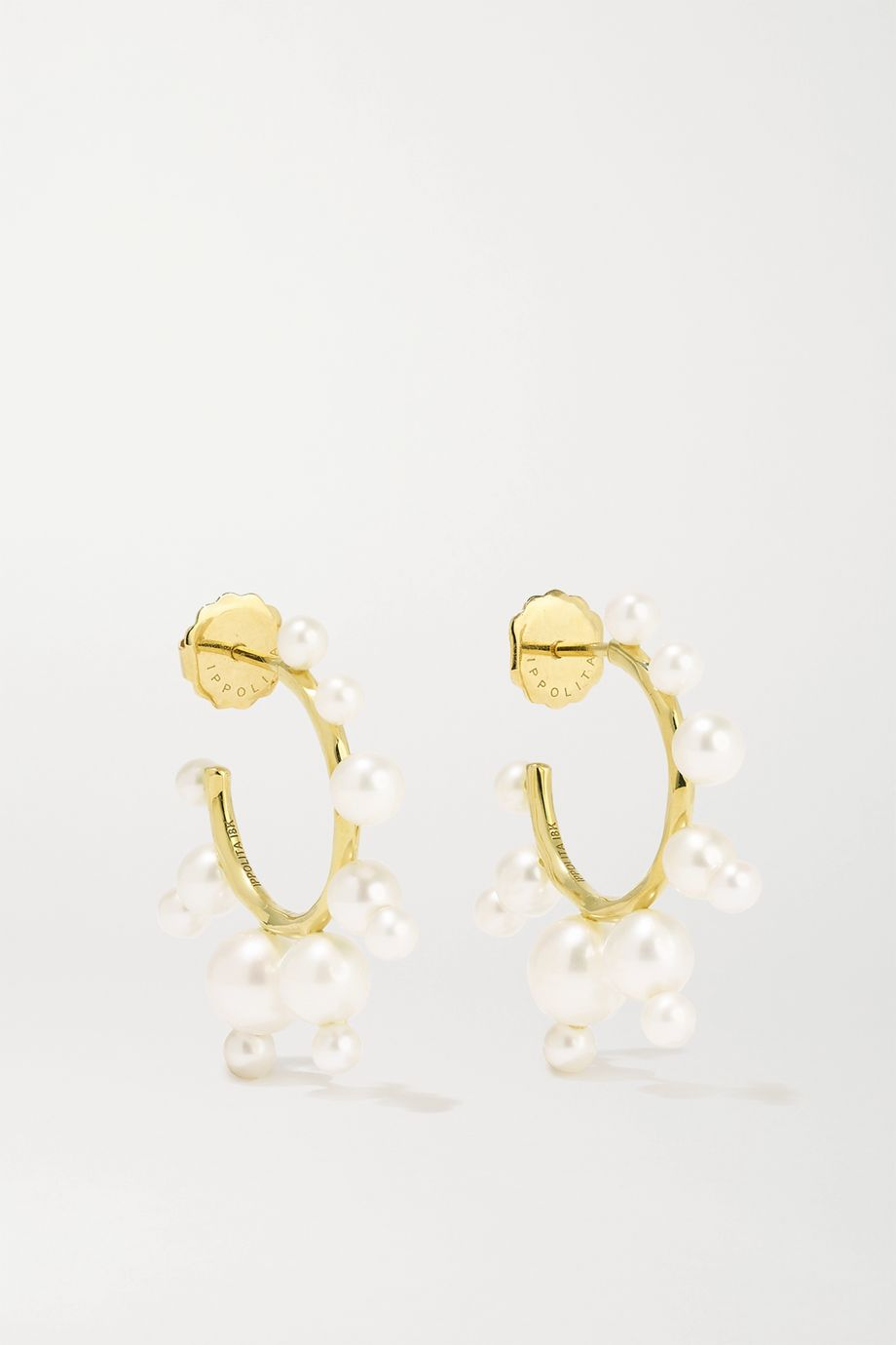 IPPOLITA Nova 18-karat gold pearl hoop earrings
