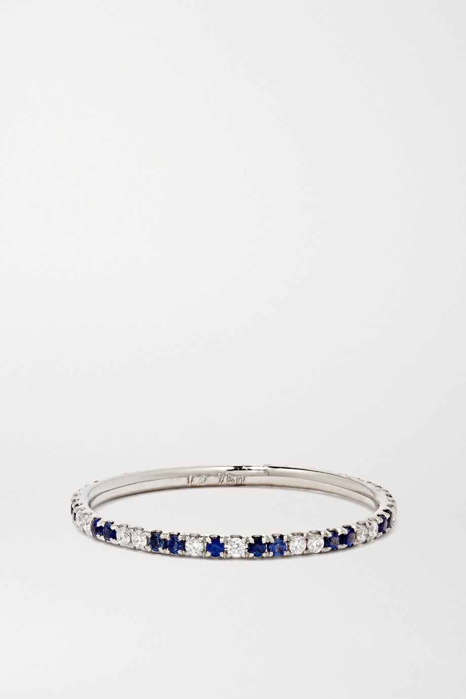 ILEANA MAKRI Thread Stripes 18-karat white gold, sapphire and diamond ring