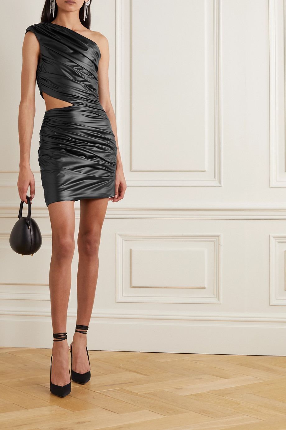 HALPERN One-shoulder cutout ruched faux leather mini dress