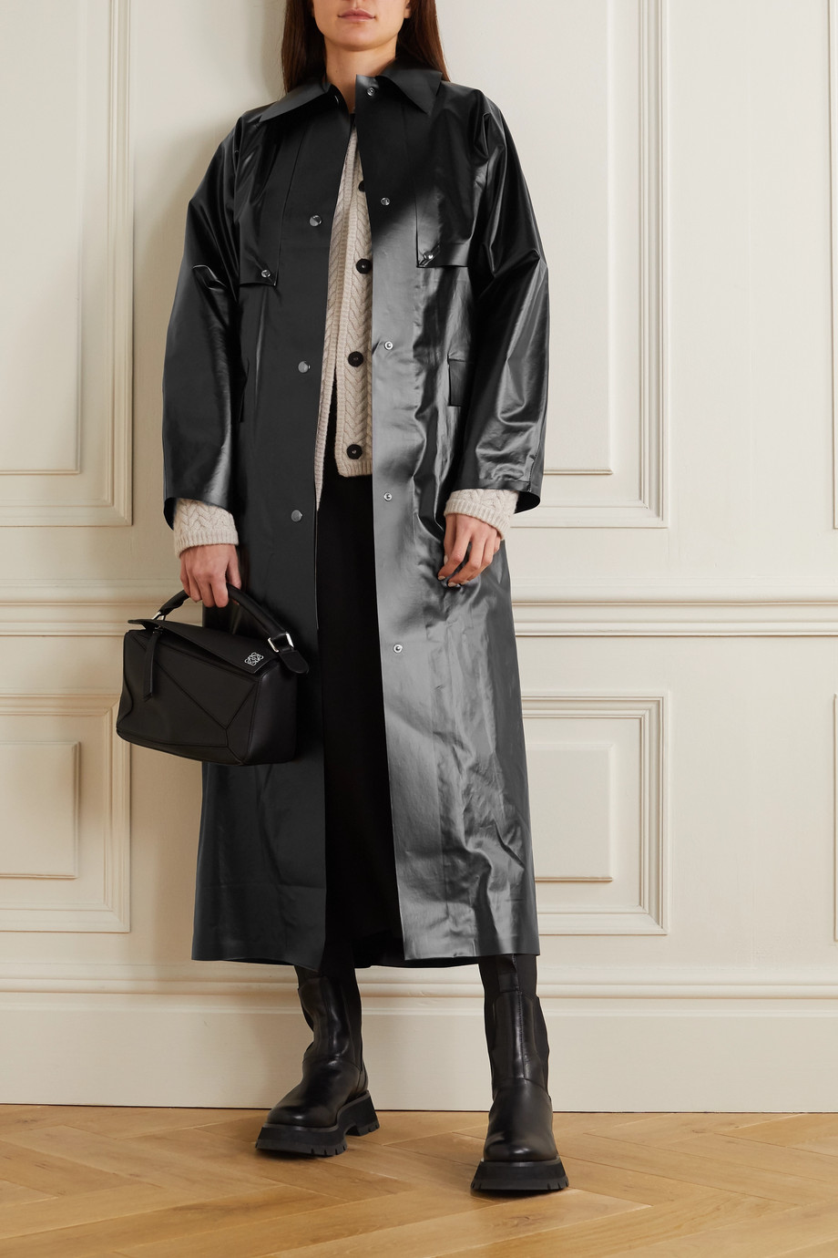 KASSL EDITIONS Reversible convertible vinyl trench coat