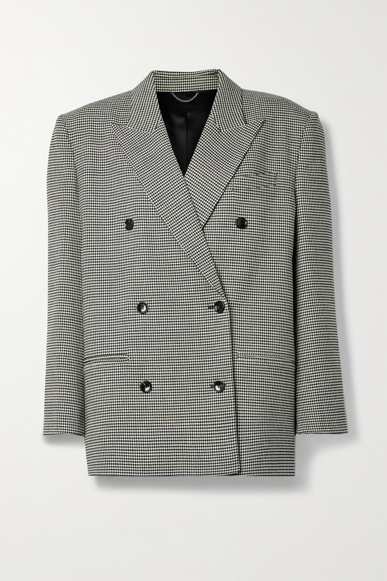 MAGDA BUTRYM - 大廓形双排扣千鸟格羊毛混纺西装外套 - 黑色 - FR38