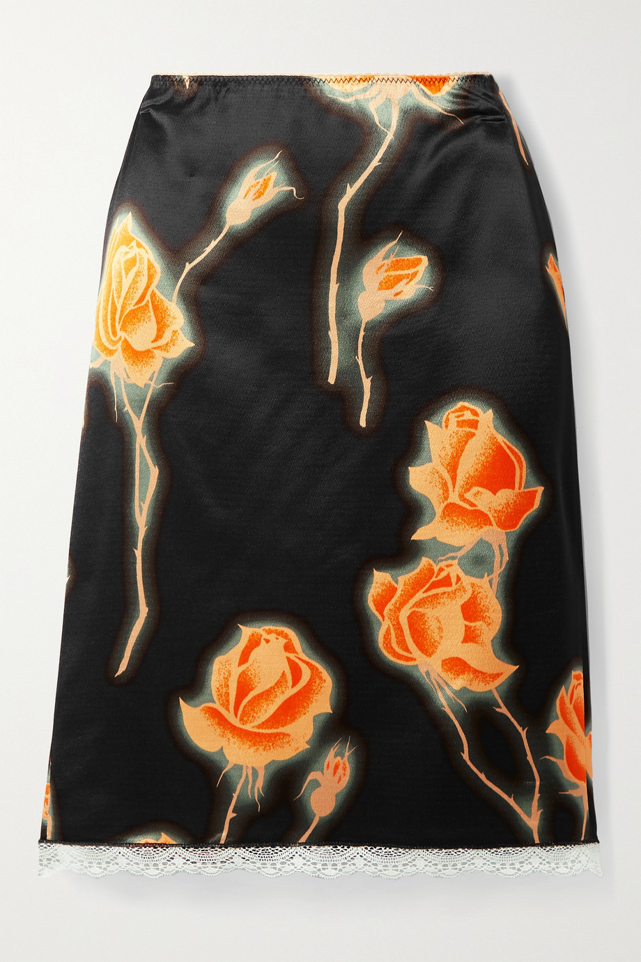 Meryll Rogge Lace-trimmed floral-print satin skirt