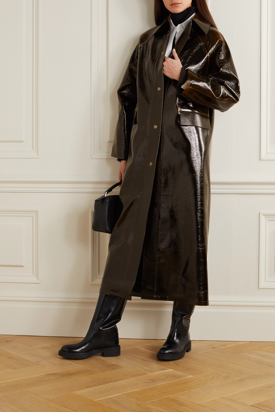 KASSL EDITIONS Original crinkled coated wool-blend trench coat