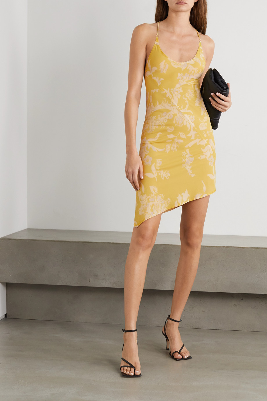 IOANNES Open-back asymmetric floral-print stretch-jersey mini dress