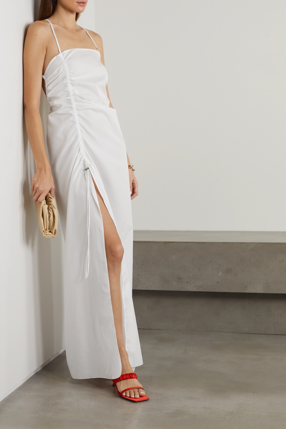 IOANNES Camilla open-back ruched cotton-poplin maxi dress
