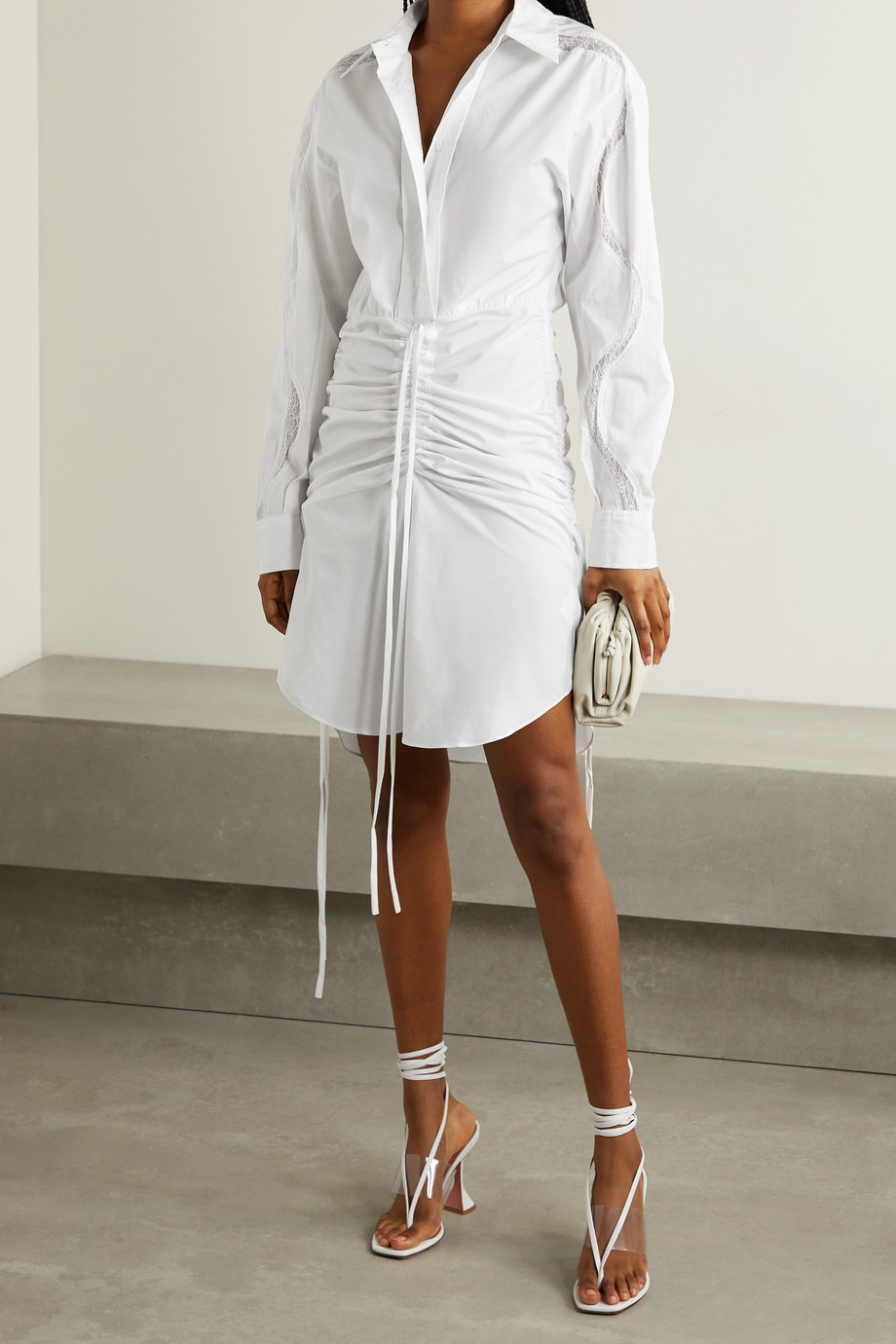 CHRISTOPHER ESBER Cummerbund lace-trimmed ruched cotton-poplin shirt dress