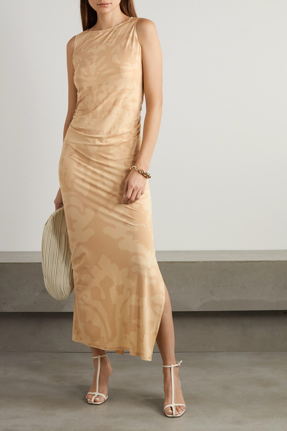 IOANNES Carrie ruched printed stretch-jersey maxi dress