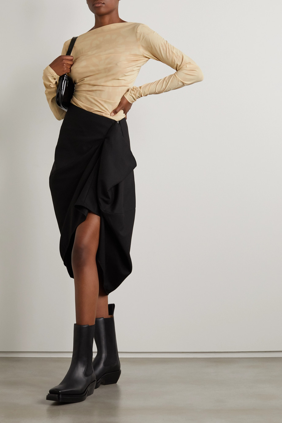 IOANNES Draped twill skirt