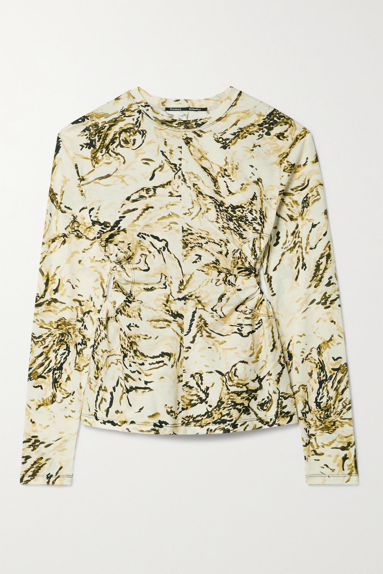 PROENZA SCHOULER - Cutout Printed Cotton-jersey Top - Neutrals - x small
