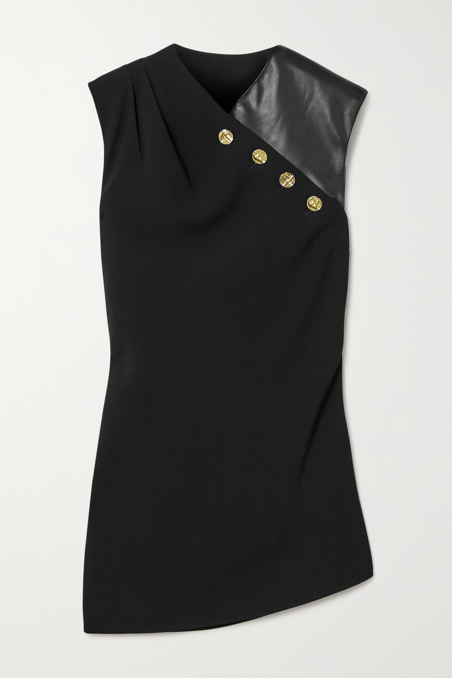 PROENZA SCHOULER Button-embellished crepe and faux leather top