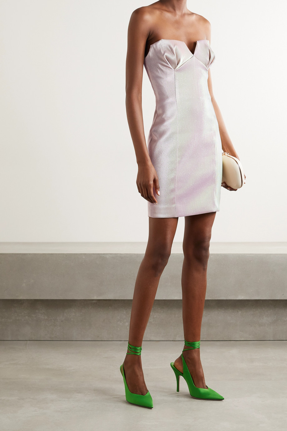 AREA Strapless iridescent lamé mini dress