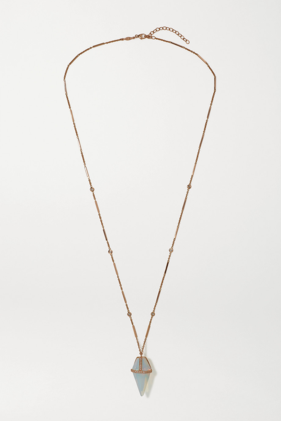 JACQUIE AICHE Pendulum 14-karat rose gold, opal and diamond necklace