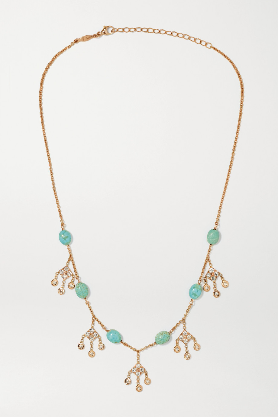 JACQUIE AICHE 14-karat rose gold, turquoise and diamond necklace