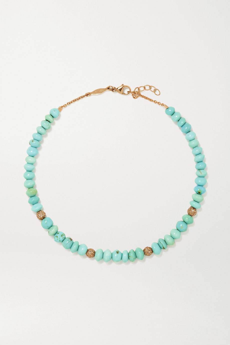 JACQUIE AICHE 14-karat gold, turquoise and diamond anklet