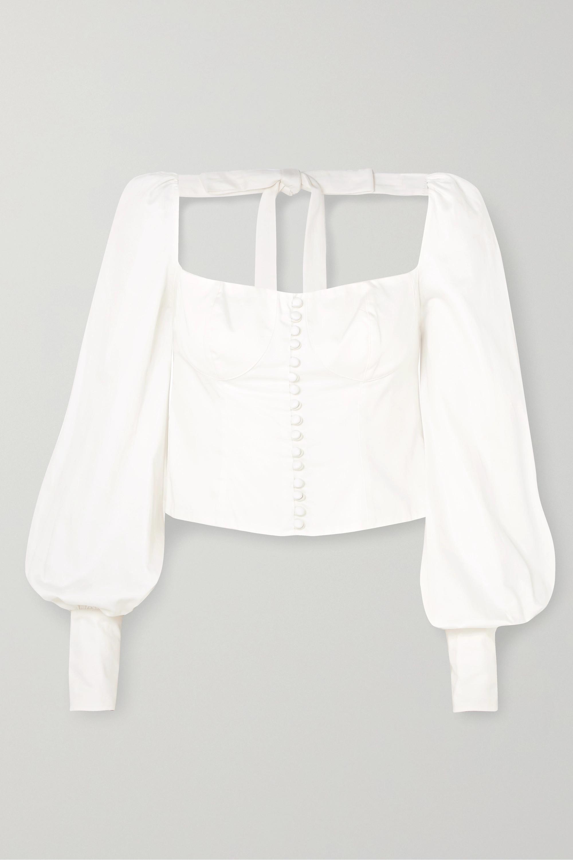 Ivory Victorian Button Embellished Pima Cotton Sateen Blouse Orseund Iris Net A Porter