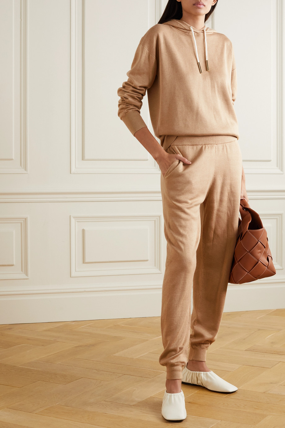 OLIVIA VON HALLE Gia Shanghai silk and cashmere-blend hoodie and track pants set