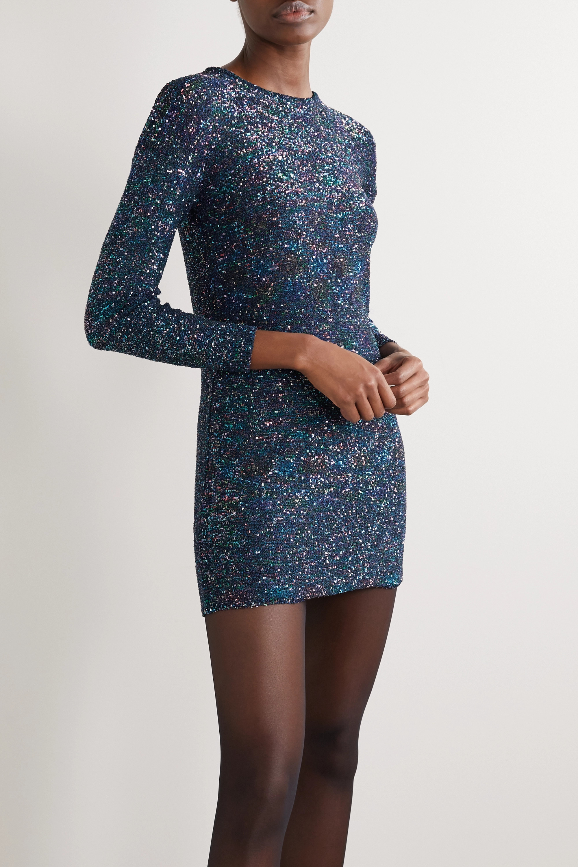 SAINT LAURENT Sequined knitted mini dress