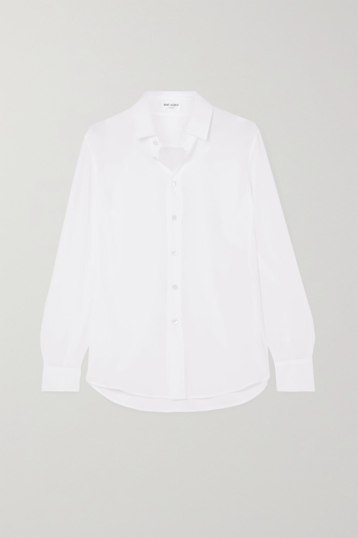 SAINT LAURENT - Silk Crepe De Chine Shirt - White - FR38