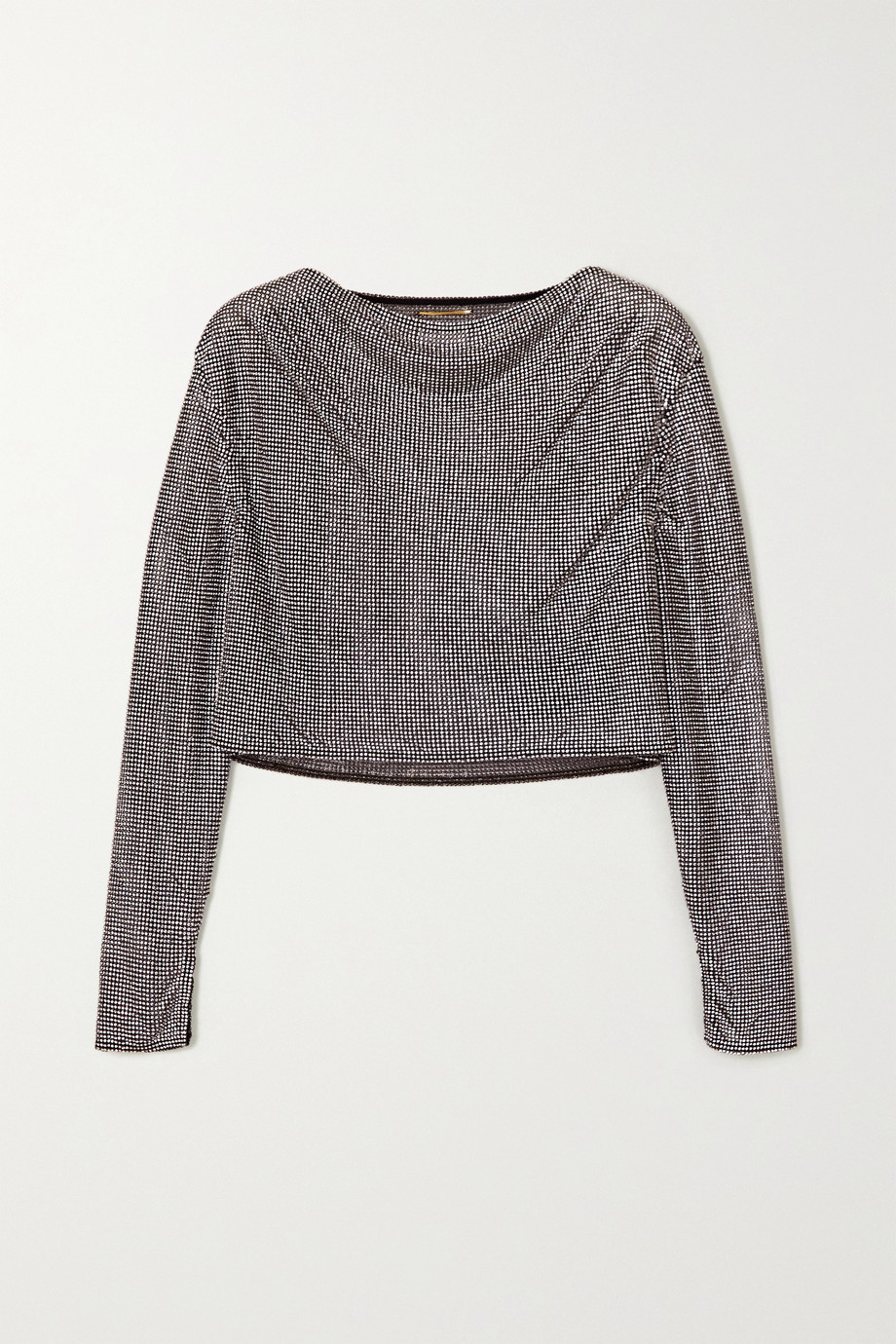 SAINT LAURENT Cropped crystal-embellished chainmail top